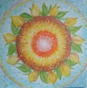 Sunflower mandala painting in acrylic