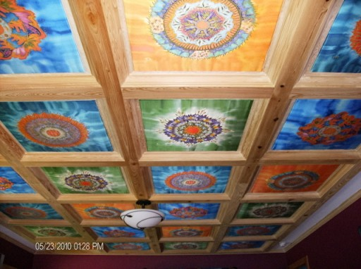 Mandala panels by Fiona Stolze in coffered ceiling