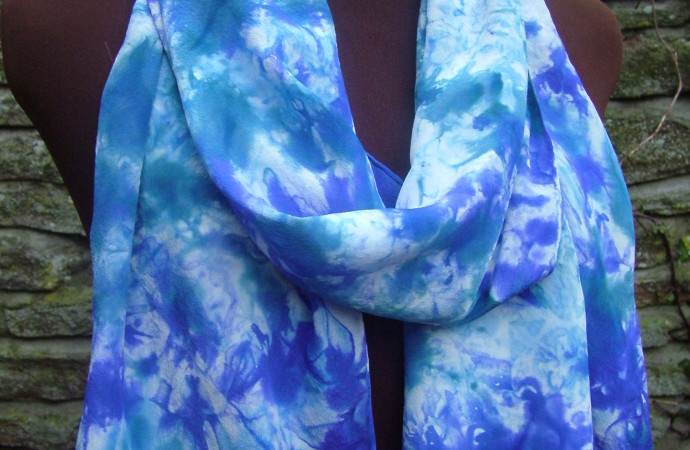 Sapphire and Purple Crepe de Chine Silk Scarf