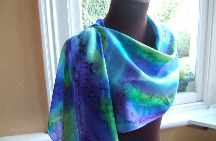 purple and blue handpainted silk scarf fionastolze silkandart