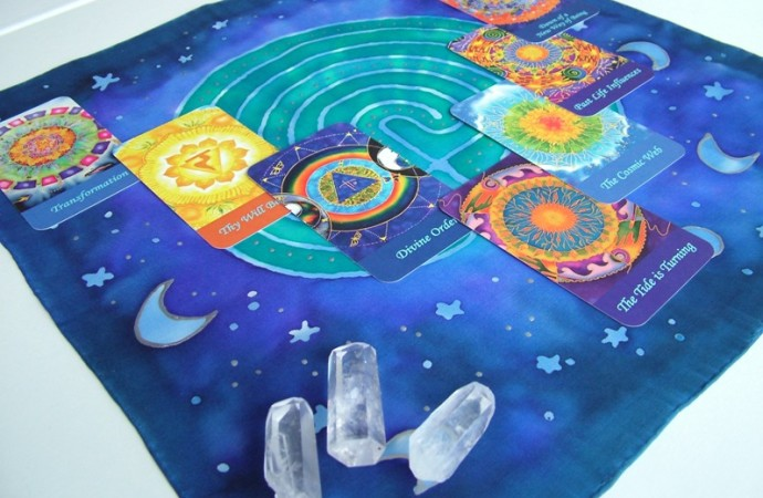 Hand painted silk labyrinth altar cloth fionastolze silkandart
