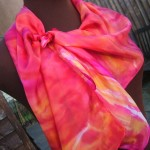 pink red hand painted silk scarf silk painting fionastolze silkandart silk shawl silk wrap sacral chakra colour therapy